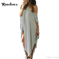 Wholesale one shoulder batwing sleeve dress - 2017 Women Summer Dress Long Maxi Loose Dress Striped Batwing Sleeve Off-shoulder Split Casual Beach Wear Plus Size Vestidos