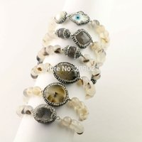 New Fashion 6pcs Mixed Style Pave Rhinestone Cristal Ágata Beads Braceletes Charms, Black Rutilated Quartz Stone Bracelet