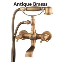 Wholesale Sink Bathtub Faucet - Wall Mounted Bathroom 4 Color Brass Bathtub Faucet Telephone Style Dual Handle Tub Sink Mixer Tap With Handshower