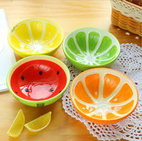 Wholesale Lovely Fruit Design Ceramic Bowls Fashion Color Ice Cream Bowl Creative Kitchen Dinnerware Household Supplies EC