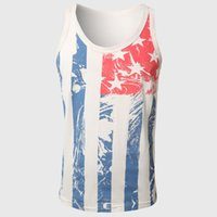 Wholesale Teen Boys T Shirt - Wholesale- Men Flag Print Tank Tops Striped Vests Star Pattern Sleeveless T Shirts V Neck Boys Teens Street Summer Wear Hip Hop
