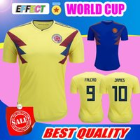 Wholesale Colombia Shorts - TOP QUALITY Colombia jersey 2018 World Cup Colombia home yellow soccer jersey 17 18 away blue FALCAO JAMES CUADRADO TEO BACCA football shirt