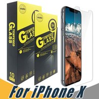 Wholesale Iphone 5s Tempered - For iPhone X 8 7 6 6S Plus 5S Tempered Glass Screen Protector 9H 2.5D Anti-shatter Film For Samsung J5 J7 Prime LG G6 Stylo3 HTC M8