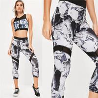 Wholesale Womens Velour Sets - Women Sport Yoga Set Gym Running Sport Suit White Womens Tracksuit Set Black Mesh Two Piece Set Top And Pant Zipper Jogging Suit HGE