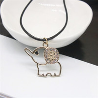 Wholesale Crown Rhinestone Pendant - Fashion Women Short Necklace Elephant Key Crown Gold Plated Rhinestone Pendant Necklaces Leather Chain Necklaces For Women
