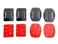 Wholesale Gopro Hero Helmet - Gopro Accessories 2pcs Flat Mounts + 2pcs Curved Mounts + 3M Stickers Helmet Mount Holder Adapter for Gopro Hero 4 3+ 3 2 1 SJCAM Xiao yi