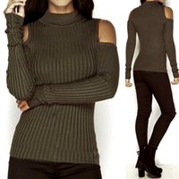 Wholesale Turtleneck Cape - Wholesale- WJ Autumn Turtleneck Off Shoulder Knitted Sweater Winter Women Fashion Sexy Pullover Jumpers Tops Oversized Capes V2