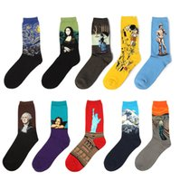 Wholesale Van Gogh Prints - NEW Fashion Art Cotton Crew Printed Socks Painting Character Pattern Women Men Harajuku Design Sox Calcetine Van Gogh Novelty Funny