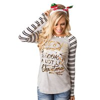 Wholesale Ladies Casual Tops Sale - Wholesale- Hot Sale Women Fashion Stripe Shirt Round Collar Cotton Long Sleeve T-Shirt Christmas Xmas Ladies Party Casual Tees Tops