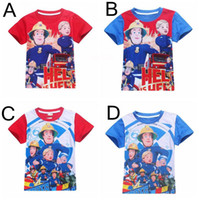 Wholesale Wholesale Fireman Clothing - Fireman Sam Saving The Day 100% cotton Boys Summer Tops Short Sleeve T-shirts Kids baby clothes Cartoon Tees