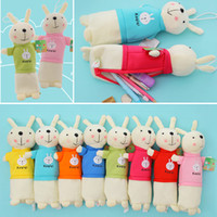 Wholesale Metoo Rabbit Pencil - 2017 Kid Metoo Rabbit Multi-function Students Plush Pencil Bag Pen Pen Bags Pouch Case Coin Purse Wallet Boys Girls for Children Gift