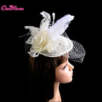 Red Fascinator Feather Chapeau Collier Chapeau Girl Cocktail Hat Lady Veil Hair Clip épingles à cheveux Accessoire pour la décoration de partie