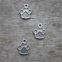 encantos do cão venda por atacado-15pcs - Dog Paw Charms, pingentes de prata antigo tibetano da cópia da pata do encanto 22x17mm