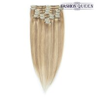 Extension De Clip Blonde Légère Pas Cher-FASHION QUEEN Clip de cheveux dans les extensions de cheveux Light Blonde P16 / 613 Couleur Full Head cheveux humains Extensions Clip In 7pcs 100g Silky Straight