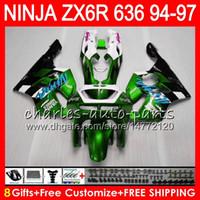 97 ninja großhandel-8Geschenke 23 Farben Für KAWASAKI NINJA ZX6R 94 95 96 97 600CC ZX-6R grün weiß 33NO76 ZX636 ZX 636 ZX 6R ZX600 1994 1995 1996 1997 Verkleidung kit