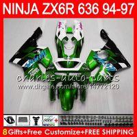 kit de carenado zx6r 1996 al por mayor-8Regalos 23Colores para KAWASAKI NINJA ZX6R 94 95 96 97 600CC ZX-6R verde blanco 33NO76 ZX636 ZX 636 ZX 6R ZX600 1994 1995 1996 1997 Kit de carenado