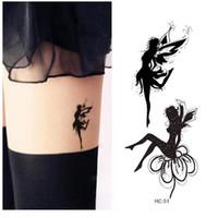 tatuajes tóxicos temporales al por mayor-Impermeable Tatuaje Falso Mujeres Pierna Cofre Sexy Etiqueta Temporal Aleteo Ángel Hada Chica Diseño de la Cubierta de la Cicatriz Tatuaje Rápido