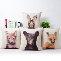 Wholesale Painting Memory - Cushion Cover Animal 3D Cushion Indian Painting Style Cotton Linen Fox Bear Rabbit Sofa Home Decorative Throw Pillow Cover