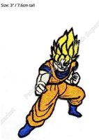 "Wholesale Cartoon Iron Patches - 3"" Dragon Ball patch DragonBall Z GT Japanese Comic Cartoon Classic Goku Saiy Movie TV Series Embroidered iron on patch applique"