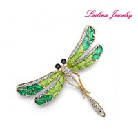 Wholesale Dragonfly Brooch Wholesale - Lailina Jewelry Plating Gold Green Enamel Dragonfly Brooch Pins Rhinestone Crystal Insect Brooches Decorative Garment Accessories