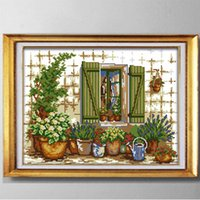Outside the window, Chinese DIY handmade needlewrok Cross Stitch Embroidery kits,counted printed on canvas DMC 14CT 11CT DMC Needlework Sets