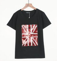 Wholesale Women S Union Jack Shirt - Punk Rock Fashion T Shirt Women Union Jack Sequined Graphic Tees Women 2017 Summer Cotton Tops Tee Shirt Femme Loose T-shirt Short Sleeve