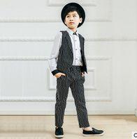 Wholesale New Trendy Clothes - Boys Trendy party outfit children stripe sleeveless vest +stripe pants 2pcs sets England style fashion new Autumn clothes G0191