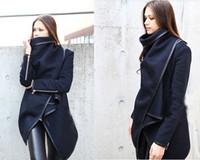 Wholesale Gray Wool Jacket High Collar - Fashion Women Long Sleeve Turn-Down Collar Open Stitch Woolen Plain Womens Coats Jackets tops 6 colors