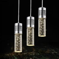 Wholesale Pendant Shades - Modern Brief Crystal Pendant Lamp Bubble Crystal Light with LED Bulb Cylinder Shade Droplight Chandelier Ceiling Light Bar Dining Room Light