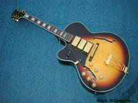 Wholesale Guitar Left Hand Cheap - Left Handed Guitars Vintage Sunburst 3 Pickups Jazz Guitar Gold Hardware OEM Cheap