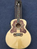 Wholesale Deluxe Acoustic Guitar - Wholesale-2015 New + Factory + Chibson J200 acoustic guitar super deluxe J200 flame maple body acoustic guitar with all real abalone inlay