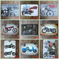 Wholesale Metal Crafts Home Decoration Motorcycle - Motorcycle Retro metal Poster Wall Decor Bar Home Vintage Craft Gift Art 20x30cm Metal painting Tin Poster Mixed designs