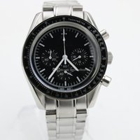 Wholesale moon sapphire - Hot seller Luxury Arrival Quartz Black Face Full Stainless Steel Men's Moon Wristwatch Analog Ti3 Professional Speed Male Watch Relogio