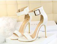 Wholesale Sliver High Heels - buckle high heels satin wedding shoes women shoes for wedding white pink blue green black sliver high heels