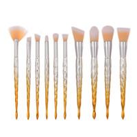 Wholesale Makup Eye Shadow - Mermaid Makeup Brushes Set 10pcs Professional Makup Brush Eye Shadow Blusher Powder Thread Blending Cosmetic Memaid Sacre Brush Kit DHL Free