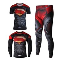 Wholesale White Tight Long Sleeve - Hot 3 Pack 2017 Superhero Men Long Sleeve T Shirt Compression Tights Tops Fitness T-shirt