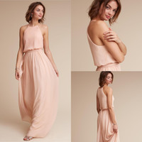 Wholesale dresses for summer beach wedding resale online - 2020 Blush Pink Bridesmaid Dresses For Wedding Guest Dress Halter Neck Chiffon Beach Bohemian Sleeveless Zipper Back Maid of Honor Gowns