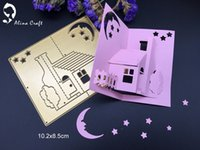 Wholesale Paper House 3d - Metal cutting dies 3D stereo house lovely family moon star Scrapbook card paper craft home decoration embossing stencils cutter