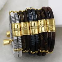 schieberzubehör großhandel-Neue Mode Doppel kleine Accessoires kleine Sperre Lederarmband Titan Stahl Schnalle Leder Seil Armband