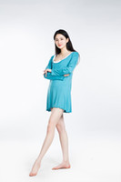 Wholesale Modal Lenzing - 100% Lenzing Modal Sky Blue Women Pajama Skirt Lady Pajamas Nightgowns Robe Women's Nightgown Cotton Nightwear Long Sleeve Sleepwear
