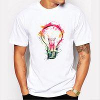 Wholesale Mens Colorful Fashion Shirts - Hot Sale Poleras Hombre Light Bulb Mens T Shirts Fashion 2018 New Arrive Short Sleeve Cotton T Shirts Colorful Bulb