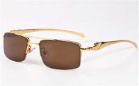 Wholesale Famous Bridges - Famous Men Glasses Double Bridge Semi Rimless Metal Frame Alloy Leopard Legs Buffalo Sunglasses lunettes de soleil de marque