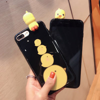 Wholesale Wholesale Sleeping Kitty - Phone Case for iPhone 6 6S 6 plus 3D Cute Soft Silicone Squishy duck cute duck chiken for iPhone 7 7 plus Cover Animal Sleeping Kitty Coque