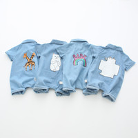 Wholesale Anime Jeans - Infant jeans romper Newborn cartoon anime printed denim romper Baby boy girl single breasted shorts jumpsuits INS baby summer clothing T4185