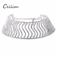 Wholesale Wide Gold Choker - New Fashion Rhinestone Wide Choker Necklace For Women Statement Necklace Full Crystal Beads Chokers Short Necklace Jewelry 2017