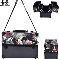 Wenjie Brother Big Size Cranio Fiore Abs Pu Make Up Box Custodia per trucco Beauty Case Cosmetic Bag Multi Tiers Lockable Gioielli per donna Box
