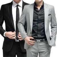 roupa preta vermelha cinza venda por atacado-Homens terno (jaqueta + calça + gravata) Roupas formais festa de casamento groom prom cantora cinza preto branco vermelho masculino outfit Host Stage Wear