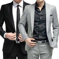ingrosso vestito nero grigio nero-vestito degli uomini (giacca + pantaloni + cravatta) Abbigliamento formale festa nuziale sposo cantante grigio nero bianco rosso vestito maschile Host Stage Wear