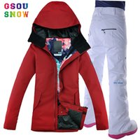 All'ingrosso Gsou Snow Womens Ski Suit Giacca da sci Donna Outdoor Snowboard Suit Pantaloni Sport invernali Donna Jaqueta Feminina Giacche Sport
