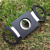 Wholesale Double Cigar Cutter - Pocket Plastic Stainless Steel Double Blades Cigar Cutter Knife Scissors Tobacco Black New DHL FEDEX free